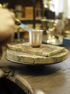 Kay Bojesen silver cup in the making at the silver smith's.