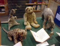 The original toys of Christopher Robin Milne. Tigger, Kanga, Edward Bear (Winnie-the-Pooh!), Eeyore, and Piglet