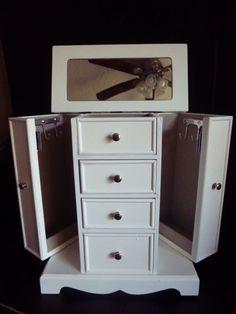 JEWELRY BOX-WHITE FINISH, MIRROR, NECKLACE HANGERS & RING HOLDERS 11''TALL  #CroftBarrowKohls