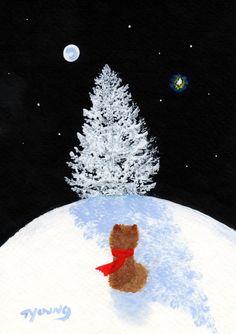 Folk Art Prints | Pomeranian Dog Folk Art PRINT Todd Young painting by ToddYoungArt
