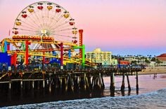 Title Sunset At The Santa Monica Pier - Fine Art By Lynn Bauer Artist Lynn Bauer Medium Photograph - Photography/digital Art Santa Monica California, Airport Hotel, Amusement Park, Holiday Destinations, Great Places, Around The Worlds, The Incredibles, Ocean, Fine Art