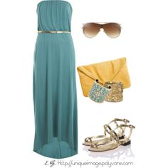 """Teal Bandeau Maxi Dress"" by uniqueimage on Polyvore"