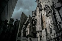 """The """"Monument to 1300 Years of Bulgaria"""", is in the city of Shumen. The monument was built in 1981, designed by Bulgarian sculptors Krum Damyanov and Ivan Slavov. The Shumen monument is a collection of somewhat menacing cubist concrete statues, housed in a modernist geometric building, positioned atop a hill overlooking the city. Unlike many Bulgarian communist-era monuments, it has been well maintained. Particularly the more """"Russian"""" of the bunch. It is 230 ft high."""