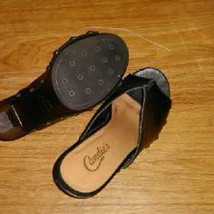 Leather slip on Slip on heels Candie's Shoes Heels