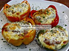 Lasagna Stuffed Peppers - Low Carb, Gluten Free | peaceloveandlowcarb.com