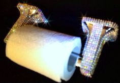 Silver & Diamond Toilet Paper Roll Holder with Bling Rhinestone Crystals