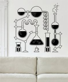 Science Beakers The latest in home decorating Beautiful wall vinyl decals that are simple to apply are a great accent piece for any room come in an array of colors and ar. Science Room Decor, Science Bedroom, Science Art, Science Decorations, Science Museum, Vinyl Wall Decals, Wall Stickers, Vinyl Art, Sticker Art