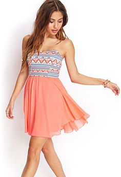 A strapless dress perfect for summer with a coral flowy skirt from forever21.com #lovin'it