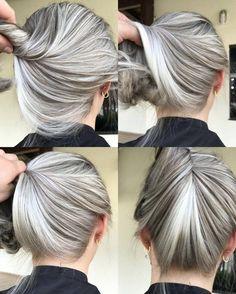 Cheveux courts gris femme 50 ans archives * magazine moms in Grey Hair Don't Care, Long Gray Hair, Silver Grey Hair, Gray Hair Highlights, Langer Bob, Pinterest Hair, Love Hair, Hair Inspiration, Curly Hair Styles