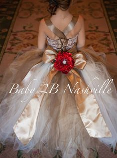 132c1085d14 Lace Flower Girl Dress with Cocoa and Gold Red by Baby2BNashville Gold  Flower Girl Dresses