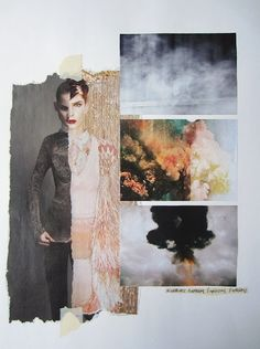 Fashion Moodboard // Explosions. I like this board because i feel there is a strong link between the images chosen, the colour palette and i like the split fashion image and the contrast between light and dark