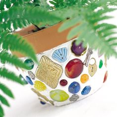 Mosaic Flowerpot-perfect for all the treasures the kids find outside
