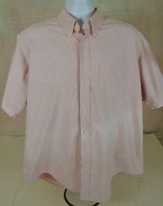 Men's Size XL Cabela's 100% Cotton Pink & White Striped Button Down Shirt #Cabelas #ButtonFront