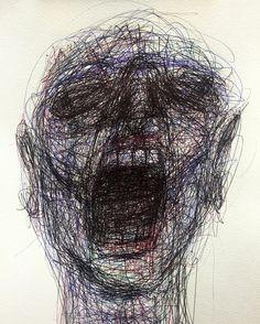 Naji Chalhoub a. Arte Horror, Horror Art, Schizophrenia Art, Mental Health Art, Depression Art, Scribble Art, Dark Drawings, Art Brut, A Level Art