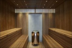 The Sauna in Studio Furellen in Sweden was built by AQ Arkitekter, a Concrete and Corten Steel House with Hydraulic Adjustable Terraces and great interiors Home Spa Room, Spa Rooms, Saunas, Spa Design, House Design, Sauna Lights, Sauna House, Sauna Room, Contemporary Leather Sofa