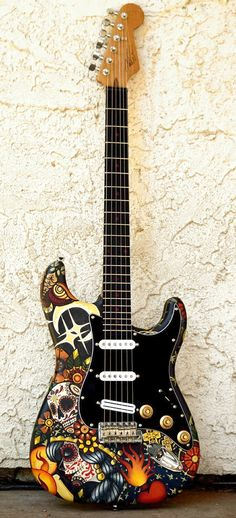 Forest Young Custom Art Guitar painted by Emily Reese