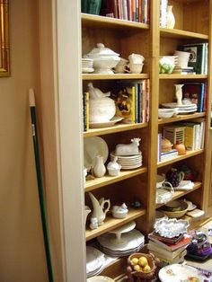 dish pantry, open shelves