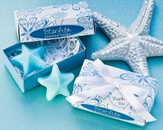 """Our """"Starfish"""" Scented Soap Wedding Favors will bring the beach to the party, if you're not already there!  A party favor sure to """"wow"""" your guests, these soap favors are perfect for any seaside soiree, beach themed, or destination wedding.  You'll certainly set a tropical mood for leisure and fun in the sun with these beach favors.  Soaps feature a kiwi-mango scent."""