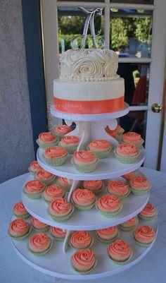 cupcake tiers wedding coral - Google Search: