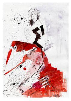 FASHION ILLUSTRATION // Sketch for Envy // A2 von hollysharpe, £45.00
