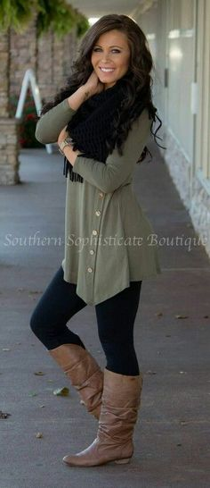 nice Looking for ways to style my olive green button down shirt. Black scarf, legging...