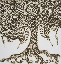 henna tree in henna paste on 12 x 12 canvas ready to hang. $30.00, via Etsy.