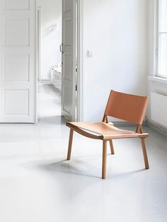 minimalist wood & leather chair