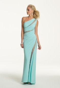 Ohh la la, look at you in this sexy Camille La Vie jersey dress! Lux and formfitting, this long dress is a stunner and will surely make a statement at Prom 2013. This one shoulder spicy design shows touches of skin in perfect little illusion slits that accent your fierce shape flawlessly! Wear this to prom, a formal party, or as a guest of wedding dress and feel fabulous. Turn the heat up a bit more with high heel satin sandals, single drop earrings, and a mirror clutch handbag.