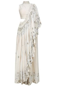 Off White Foil Embroidered flared pant sari and Front embellished Blouse. Indian Gowns Dresses, Indian Fashion Dresses, Indian Designer Outfits, Indian Outfits, Lehenga Designs, Saree Blouse Designs, Stylish Sarees, Stylish Dresses, Salwar Kameez
