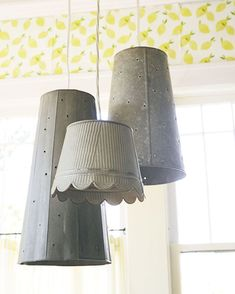 Lighting accessory, Lampshade, Interior design, Tints and shades, Material property, Cylinder, Light fixture, Aluminium, Steel, Silver, Accent Wall Designs, Country Decor, Country Music, Country Farmhouse, Country Living, Living Room White, Living Rooms, Hanging Lights, Living Room Designs