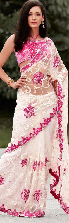 $229.95 Ivory Net Latest Fashion Saree 16767 With Unstitched Blouse