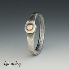 Silver Thumb Ring, Silver Ring, Mixed Metal Ring, Sterling Silver, Copper, Metalsmith Jewelry, Handmade, Organic Style by LjBjewelry on Etsy https://www.etsy.com/listing/109563168/silver-thumb-ring-silver-ring-mixed