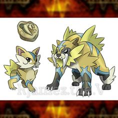 Don't let these revived fossils be seen by Team Extinct  they'll throw a fit AF. . . name : FELIVOLT type : Rock/Electric ability : 'Grounded' - The Pokemon moves with the ground and gives full immunity to ground type moves. . . name : SABSTATIC type : Rock/Electric ability : Grounded Evolution : Lvl up to 38 . . Revived from the fossil, this Pokemon will pounce on anything even its trainers. Their fur can produce high voltage of electricity. . . #pokemon #pokemonartist #pokemonart #pokem...