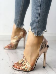 687c1bcbefc Shop Tribal Print Peep Toe Thin Heeled Sandals right now