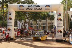 Aurum crossing the finish line in Adelaide. Solar Car, Applied Science, Finish Line, Darwin, Zen, Street View, Challenges, Australia, World