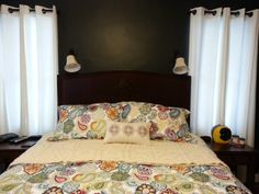 Iron Ore Paint, White Grommet Top Curtains (with new curtain rods) and new comforter -- our bedroom makeover is almost complete. Now I need wall art above the headboard. Iron Ore, Curtain Rods, Comforters, Curtains, Paint, Wall Art, Bedroom, Top, Furniture