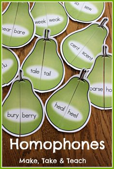 72 colorful homophone pears.  Fun small group or literacy center activity!