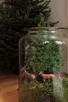 """""""...Wir fühlen uns ganz wie Gretel und Hans. Wandern wir im weissen grünen Winterwald..."""" Ein altes Apothekerglas wird zum Miniaturwald mit Rehbewohnern."""