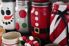 Christmas Winter Holiday Painted Mason Jar by KiwiCompany on Etsy