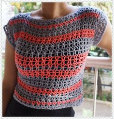 Sweet Nothings Crochet: EASY-PEASY GREY N PINK CROP TOP