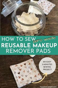 Not a fan of disposable makeup remover pads that clog up planet earth? If youre also looking for a fun and easy sewing project, this reusable makeup remover pads sewing tutorial is definitely the answer! Diy Sewing Projects, Sewing Projects For Beginners, Sewing Hacks, Sewing Tutorials, Sewing Diy, Diy Gifts Sewing, Sewing Blogs, Diy Projects To Try, Sewing Crafts