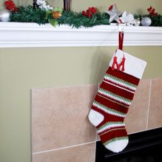 Sport Striped Crochet Stocking | AllFreeCrochet.com