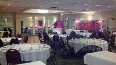 Undos Catering hall in West Virginia using art print room divider screens with decorative accent lighting.