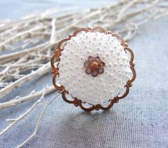 Sea Urchin Collection- Vintage Copper White Ring - Drawer pulls