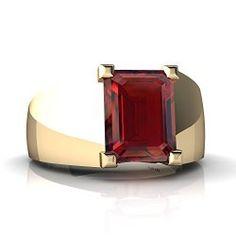 Mens Rings - 14kt Gold Garnet 9x7mm Emerald_Cut Men's Ring / Mens Jewelry  Site: Project Fellowship