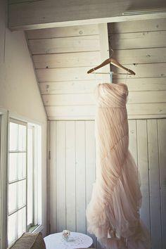 blush pink Vera Wang gown // photo by Amelia Lyon // http://ruffledblog.com/elegant-rustic-malibu-wedding
