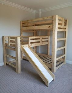 Triple Play Triple Bunk Bed W/ Slide - Bargain Box and BunksYou can find Triple bunk beds and more on our website.Triple Play Triple Bunk Bed W/ Slide - Bargain Box and Bunks Toddler Bunk Beds, Bunk Beds For Girls Room, Cool Bunk Beds, Kid Beds, Bed Rooms, Kids Bedroom, Bunk Bed With Slide, Bunk Beds With Stairs, Kids Bed With Slide