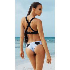 Beach Bunny Swimwear Sexy Divide Denim Push Up Bikini Set ($255) ❤ liked on Polyvore featuring swimwear, bikinis, underwire push up bikini, bikini swimwear, hipster bikini, denim bikini and padded push up bikinis