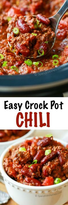 This easy crock pot chili is loaded with ground beef, seasonings & tons of flavor. Feel free to add in your favorite vegetables such as peppers & zucchini.