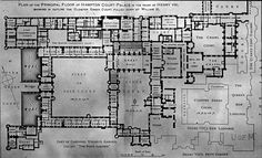 Architectural plans for Hampton Court Palace in the Reign of Henry VIII.one of the many places Marina and I will visit when we go to England. Tudor History, British History, Westminster, Die Hamptons, Hatfield House, Hampton Court, Hampton Palace, Tudor Era, Arquitetura